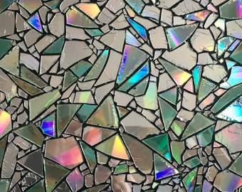 "Upcycled CD Mosiac, 8""x 8"" Canvas Art Piece"