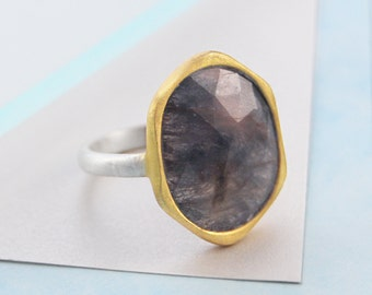 Sapphire Ring, Somkey Sapphire, Gold Ring, Statement Ring, Natural Ring, Gold and Silver Ring, Sapphire, Mixed Metals, Large Stone Ring