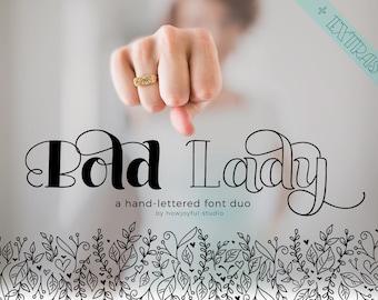 Bold Lady font duo  - Hand lettered serif font - Digital font - Bouncy font