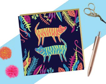 Colourful Jungle Card, Tiger Illustration, Quirky Birthday Card, Any Occasion Card, Tropical Card, Jungle Drawing, Nature Cards Art, Tiger