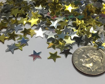 mix of silver and gold star confetti / sequins, 6-9 mm (38)