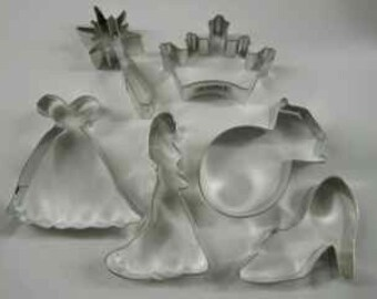 Cinderella Princess cookie cutter,  Bride cookie cutter, set of 6 Cookie Cutter Ring Crown Shoe Wand Dress wedding cookie cutter