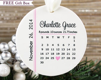 My First Christmas Ornament Baby First Christmas Ornament Baby Birth Calendar Personalized Ornament Baby Keepsake Shower Gift Item# BDC-O