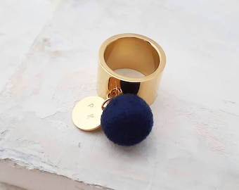 Pom Pom Ring - Stainless Steel Ring, Personalized Name Wide Band Ring, Gold Colour Ring