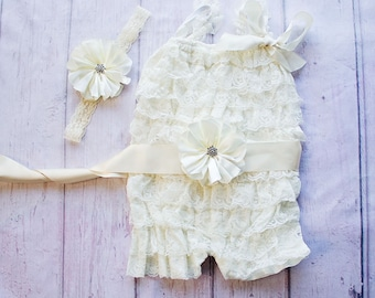 Rustic Lace Romper, Ivory Lace Romper, Lace Petti Romper, Petti Romper, Rustic Lace Romper, Country Romper, 1St Birthday Romper, Christening