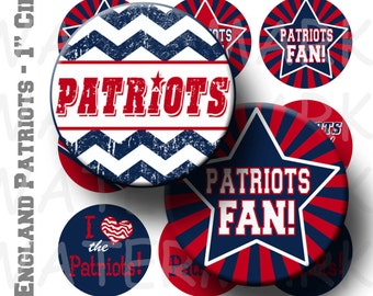 Patriots Football Team Bottlecap Circles - 4 x 6 Digital Collage Sheet  - 1 inch Round Circles - INSTANT DOWNLOAD