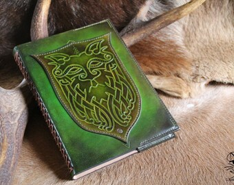 Green man - A5 size leather sketchbook notebook