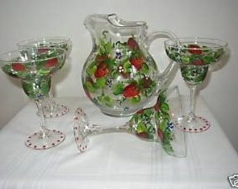 Hand Painted set of 4 Margarita Glasses and Pitcher with Strawberries