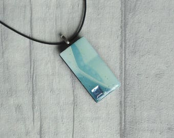 Blue domino pendant, upcycled resin necklace, Birthday gift idea, Unique eco-friendly design, Jewellery for mum or sisiter