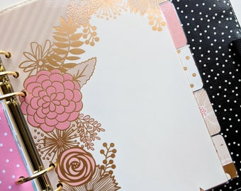 Five (5) Tab Dividers - Blush Glam - Planner Dividers - A5, Personal, A6
