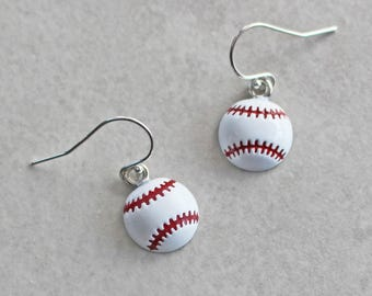 Baseball Earrings - Sports Earrings - Enamel Earrings - Baseball Jewelry - Sports Jewelry - Baseball Gifts - Sports Gifts