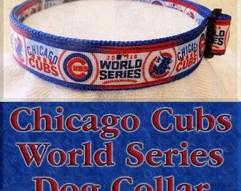 Chicago Cubs World Series 2016 Win Flag Chicago Flag Designer Baseball MLB Novelty Dog Collar