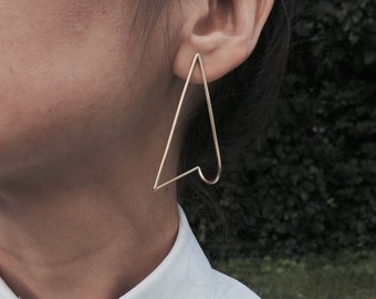 Contemporary Jewelry, Geometric Jewelry Earring, Contemporary Jewelry Earring, Minimalist Jewelry Earring, 18K Gold Plated Earring
