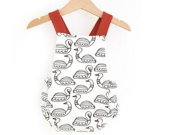 Romper was printed swans, straps criss-cross back romper