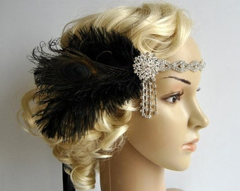 Art deco 1920s design, The Great Gatsby flapper, bridal fascinator 1920's, 1930's, Feather rhinestone crystal headband, wedding headpiece