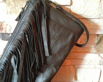 Leather Clutch, Fringe Bag, Brown Leather Bag, Recycled leather