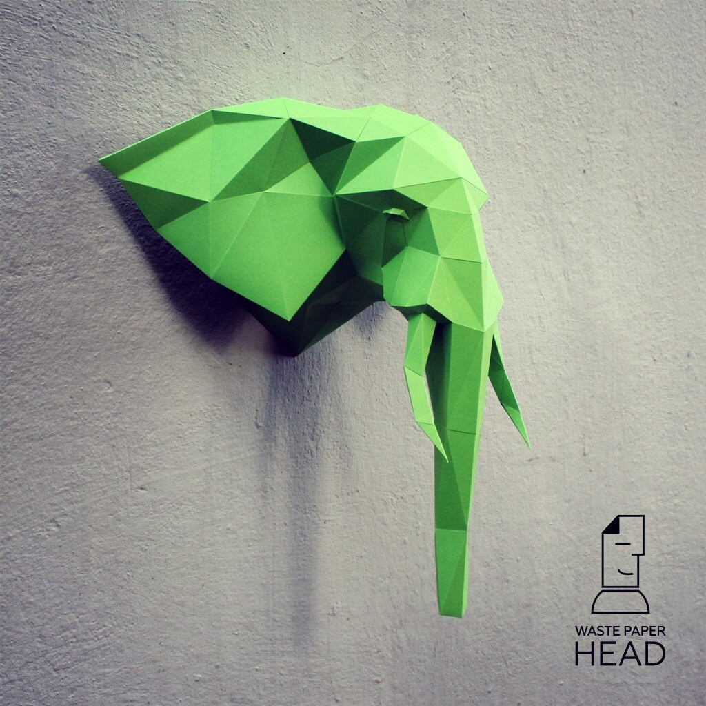 Papercraft elephant head 1 printable DIY template