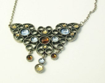 Rhinestone Open Work Dangle Pendant Signed HOBE 1970's Vintage  Costume Jewelry Necklace Gift For Her on Etsy