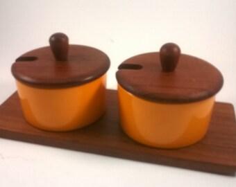 Vintage Teak Condiment Pots - Luthje Denmark - Retro Orange Kitchen 1960s