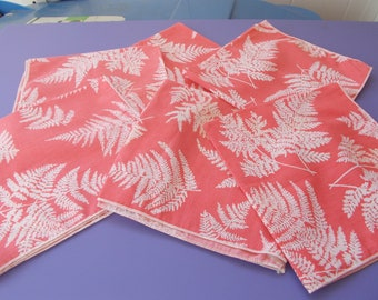 coral and fern table napkins