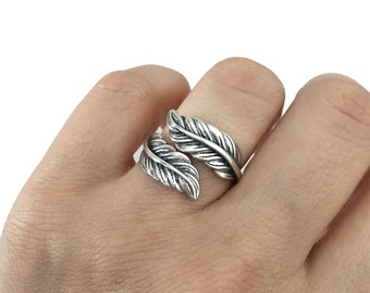 Leaf ring in Sterling silver, Open adjustable ring, Silver ring, Adjustable Silver ring, Boho ring, Sterling silver ring