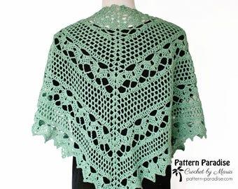 Crochet Pattern for Spring Showers Shawl, Wrap, Women's Shawl, Lacy Shawl, Elegant Wrap, Wedding Wrap, Wedding Shawl