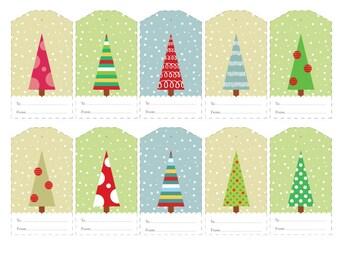Christmas Gift Tags, Christmas Trees Tags, Printable Christmas Gift Tags, Digital Christmas Tags, Colorful Tags, Printable Gift Tags