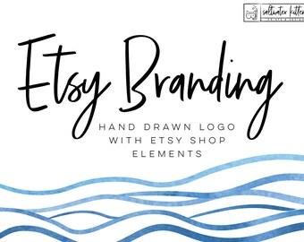 Etsy Shop - Custom Logo Design - Hand Drawn Logo - Custom Branding - Branding Package - Small Business Branding - Brand logo design