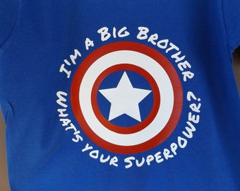 Captain America - I'm a Big Brother What's Your Super Power Shirt - Infant Toddler Childrens Youth Creeper or Tshirt