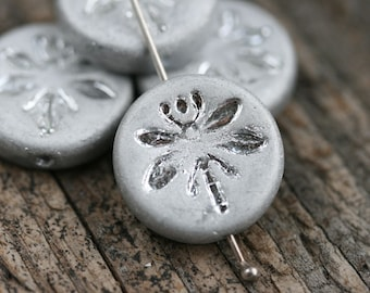 18mm Matte Silver Dragonfly beads, Czech glass pressed beads, Dragonflies ornament, coin shape, round - 2pc - 1275