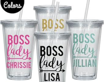 Boss Lady Tumbler, Gift for Boss, Gift for Best Friend, Personalized Tumbler, Custom Tumbler, Tumbler With Straw, Boat Tumbler, Mom Gift