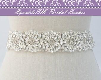 Rhinestone Belt, Jeweled Bridal Sash, Bridal Sash, Bridal Belt, Crystal Belt Sash, Beaded Bridal Belt, Wedding Dress Sash, Jeweled Sash