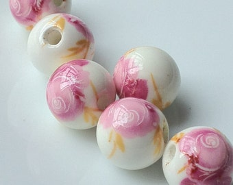 """12 mm Pink Rose """"Chinese Painting"""" Porcelain Beads (.nm)"""