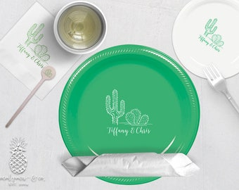 Cactus Wedding Party Plates, Napkins or Cups | Plastic Cups | Personalized Plastic Plates | Monogram Napkins | Personalized Stir Sticks