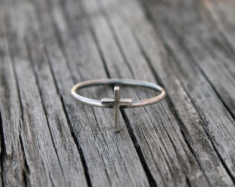Tiny Cross Stackable Ring, Stacking ring, Stack Rings, Stackable Stacker, Dainty ring, Simple ring, silver ring, minimalist, religious ring