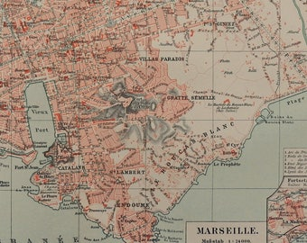 Marseille city map Etsy