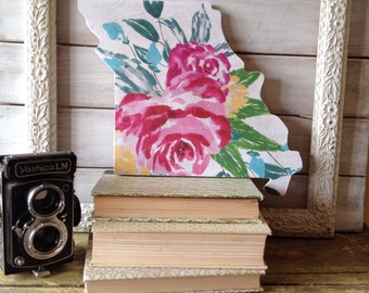 Missouri Home Sign.  state art. state sign. watercolor art. housewarming gift. first home gift. gifts for her. gift for the home. floral art