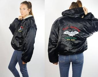 Black Bomber Jacket / Black Puffer Jacket / Bomber Jacket Patch / Puffer Jacket Patch / Reversible Lining / Winter Bomber Jacket / 90s