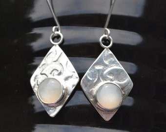 White Moonstone Sterling Silver Earrings