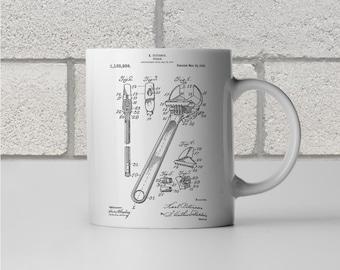 Crescent Wrench Patent Art Mug Gift, Wrench Mug, Handyman Mug, Plumber Mug, Handyman Gift, Contractor Gift, Plumber Gift, Coffee Mug