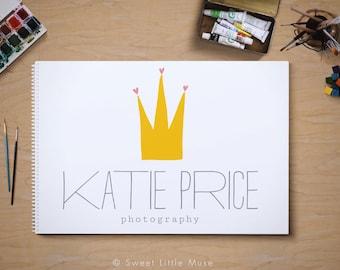 Crown Logo - Photography Logo - hand drawn logo - Whimsical Logo Design