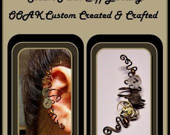 Cosplay,No piercing required,ear cuff,steampunk jewelry,earcuff,vine earrings,pearl earrings,mother daughter jewelry