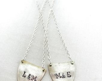Spoon monogrammed lovers necklace... customizable necklace with hearts... up cycled spoon jewelry... vintage spoons made into necklaces