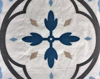 4 napkins paper blue cement tile 40 x 40