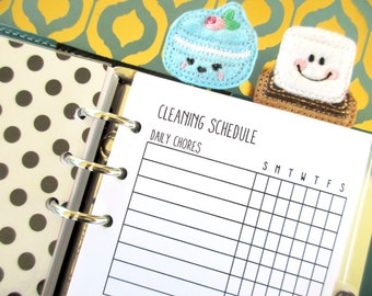 Printed Personal Size Cleaning Schedule