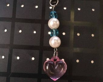 Kawaii Heart Phone Keychain Charm.