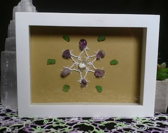 Star Wall Decor, Hand Tatted Star Accented with Lake Erie Beach Glass and Amethyst Crystals, Tatting, Sea Glass, Lake Erie Art, Crystal Grid
