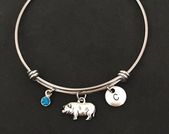 Initial Pig Bangle Bracelet Initial Pig Bracelet Pig Lover Gift Pig Jewelry