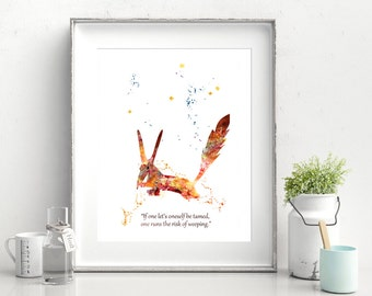 Fox The Little Prince Watercolor Print Prince Fox Print English Quote Saint-Exupéry Painting Prince Art Kids Gift Decor Poster Wall (Nº15)
