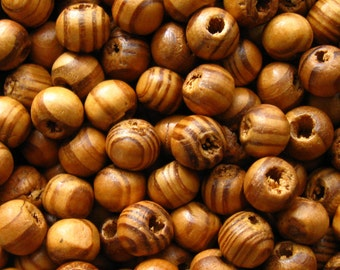 Striped Brown Wooden Beads - Over 100 - 8mm Natural Burly Wood Beads, 8mm Caramel Brown Beads, 8mm Brown Wood Beads (WBD0088)